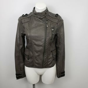 BKE Med faux leather moto jacket coat metallic